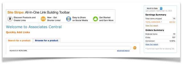 Amazon Associate Dashboard