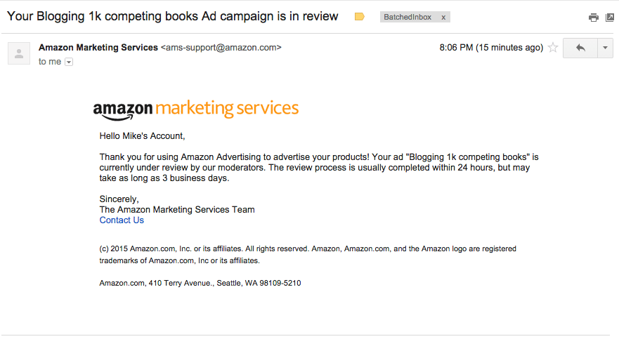020 ads receive confirmation email from amazon