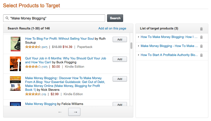 05 select books to target by keyword