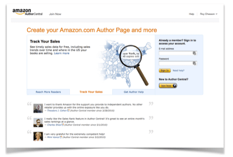 Author Central Home Screen