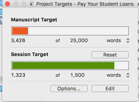 project and session target scrivener