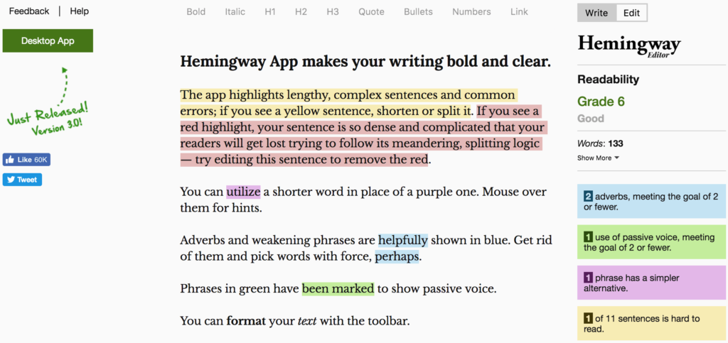 book writing software hemingway