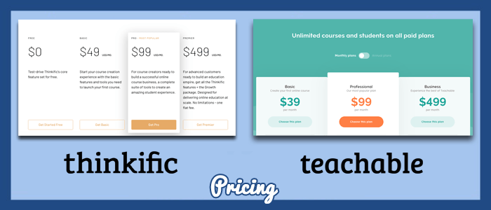 thinkific-vs-teachable-pricing