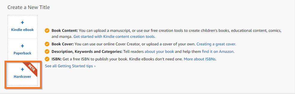 publish a hardcover button on KDP