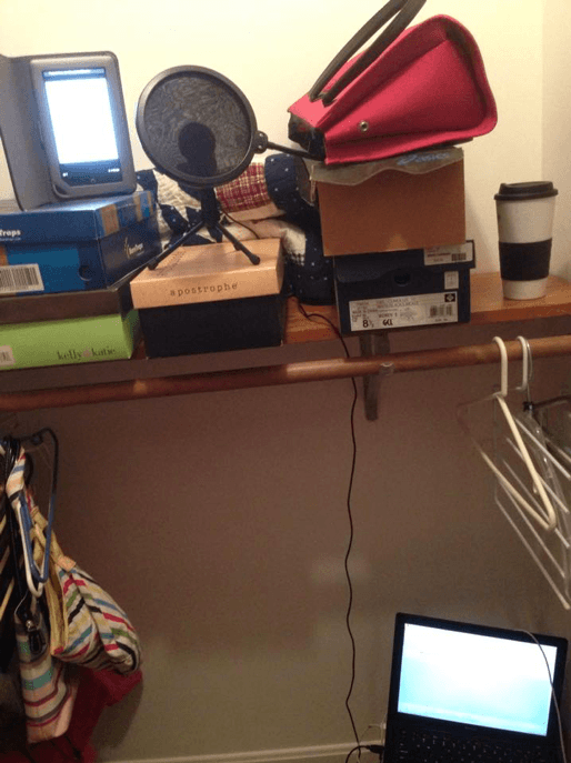 walk in closet is great for recording audiobook