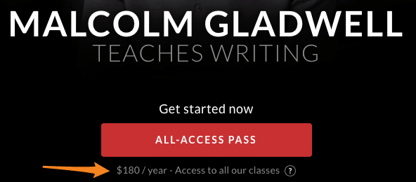 Shows the Masterclass prices and discount codes for the two types of passes. The first is the All-Access pass at $180 and the second is the Single Class for $90