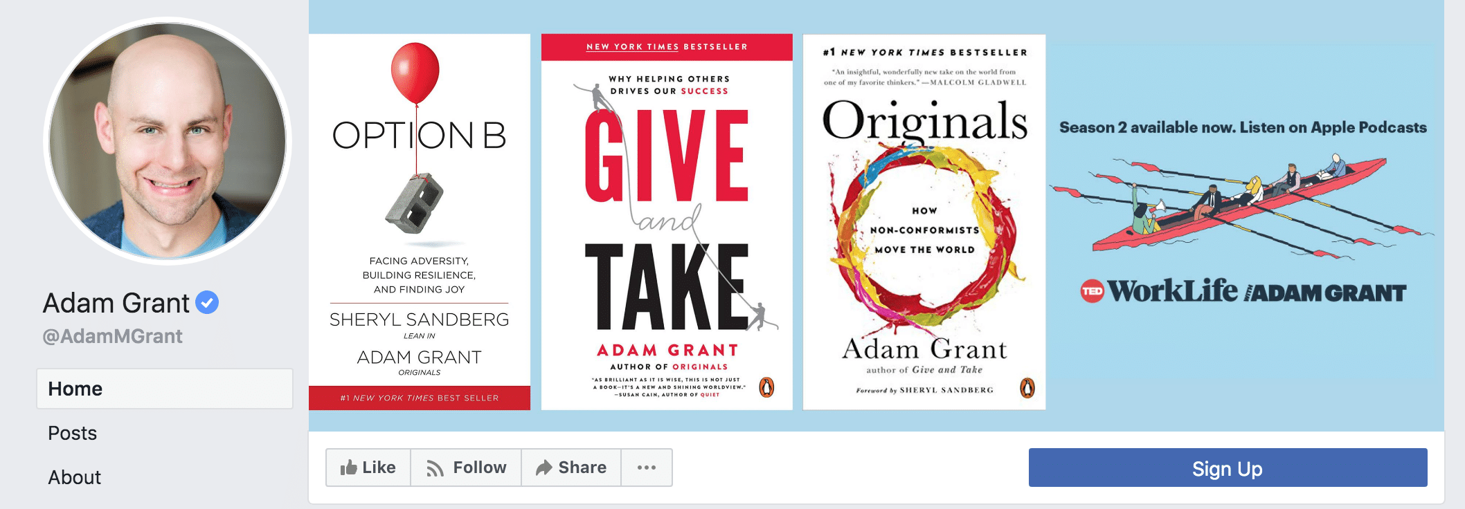 Adam Grant's Facebook author page