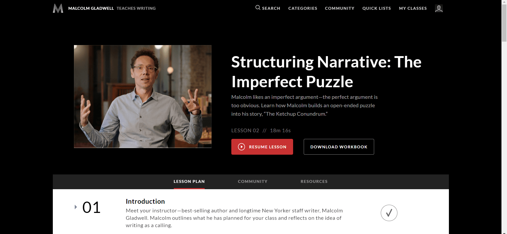 Introduction to MasterClass and shows Malcolm Gladwell on it