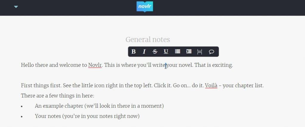 review of novlr writing environment