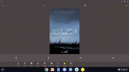 book cover made with free Over software