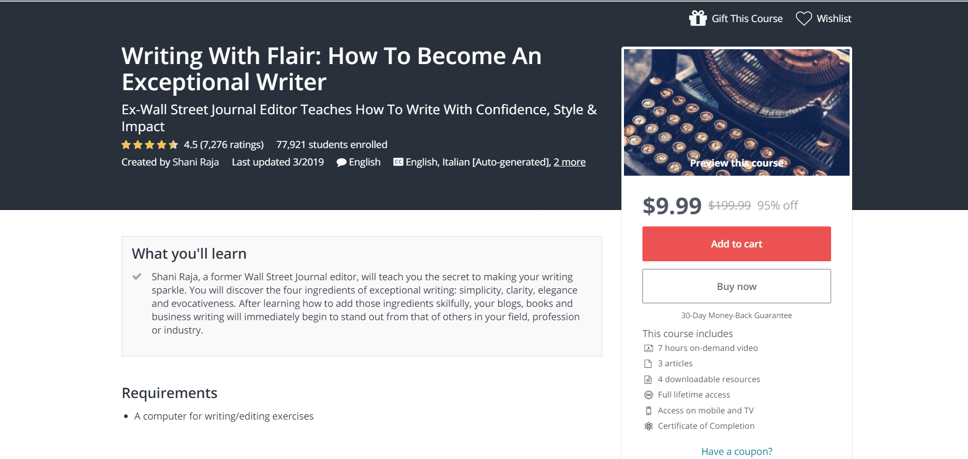 udemy online writing course