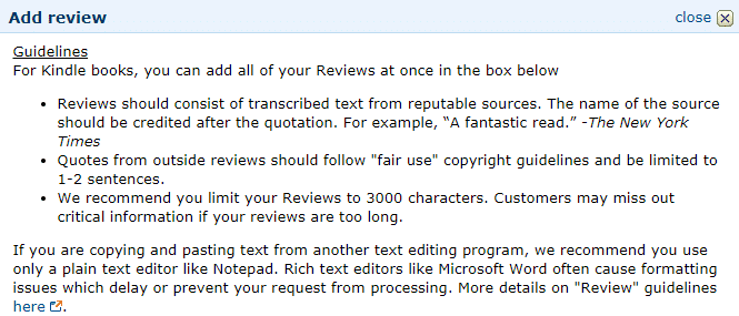 editing amazon editorial reviews