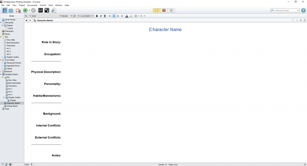 creating characters in scrivener