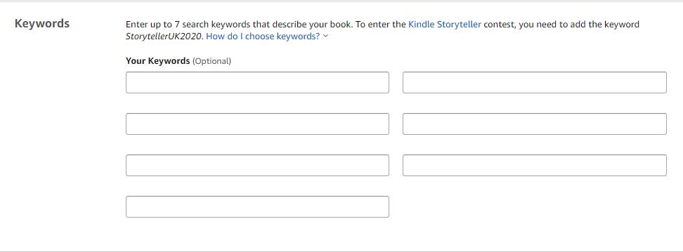 Kindle keywords boxes