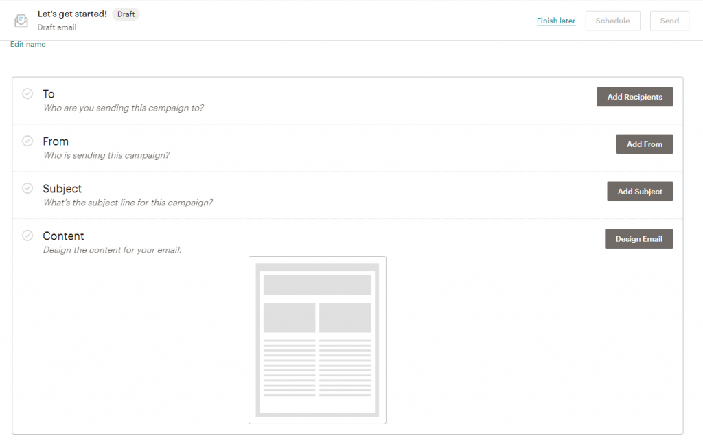 mailchimp email creation options