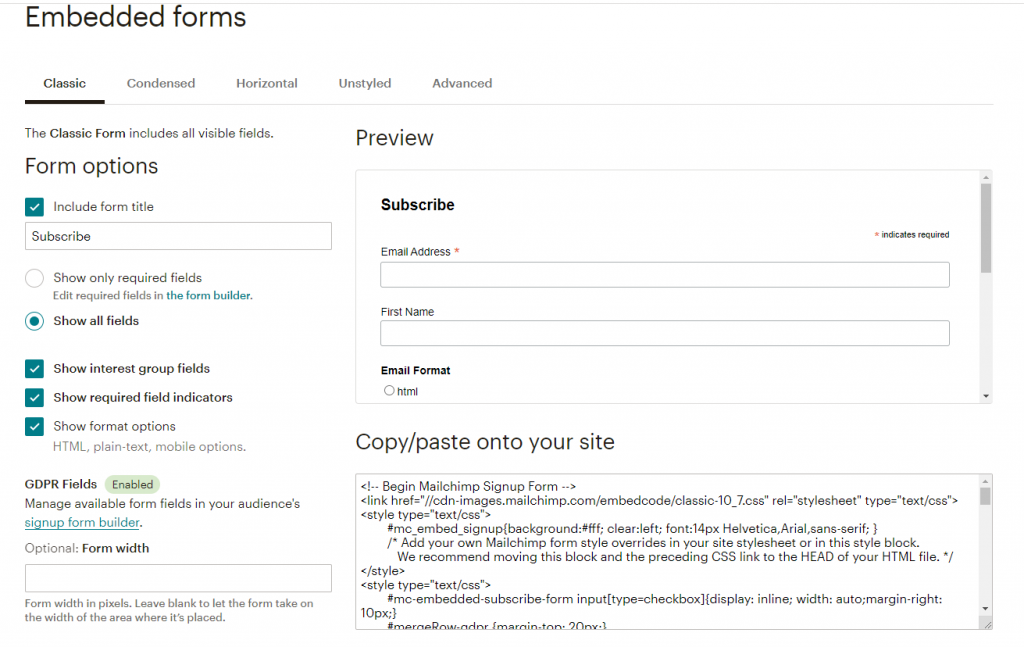 mailchimp embedded forms creation options