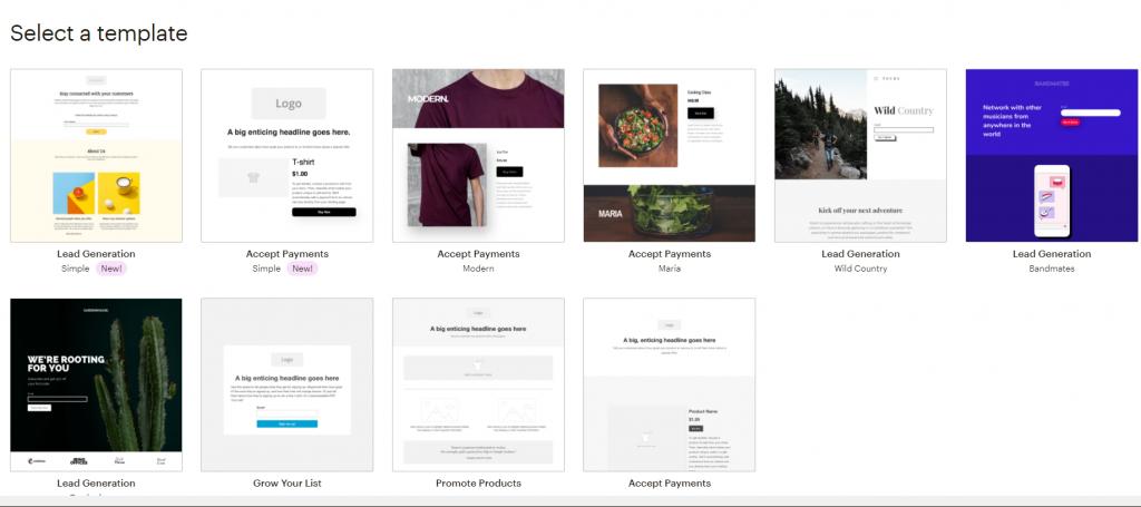 mailchimp landing page templates