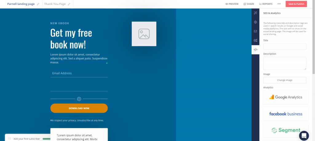 ConvertKit landing page customization
