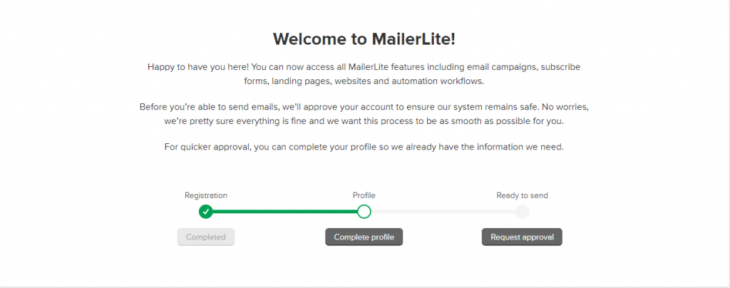 Mailerlite welcome checklist