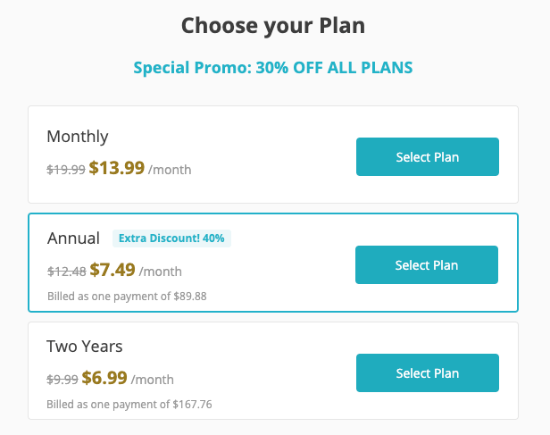 Ginger pricing plans