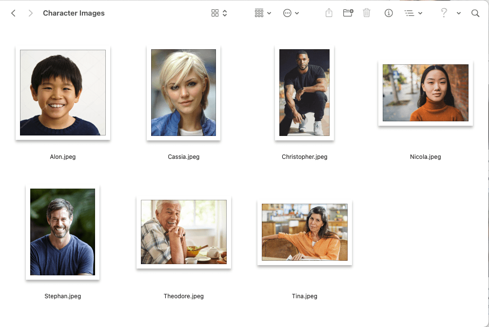 character images folder screenshot