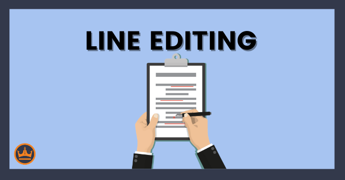 a banner image that says line editing