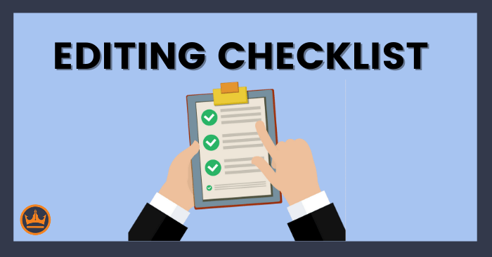 featured image that says editing checklist
