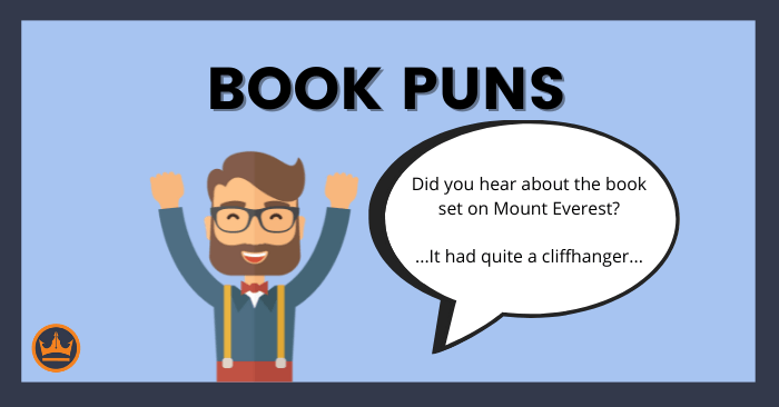 featured image that says book puns